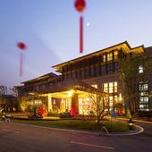 Beautiful scence hotel at night — Stock Photo