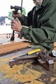 ワーカー彫刻木 — ストック写真