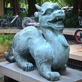 Antique Chinese mythological animal made of stone — Stock Photo