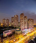 View of cityscape at evening — Stock Photo