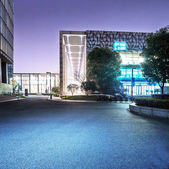 Exterior of modern building at night — Stock Photo