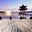 Pavilion at nightfall in west lake hangzhou China — Stock Photo #40545227
