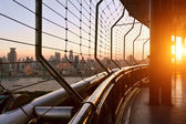 The view of cityscpe from corridor of modern building — Stock Photo