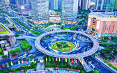 Bird's eye view of modern city — Stock Photo