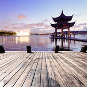 Pavilion at nightfall in west lake hangzhou China — Stock Photo
