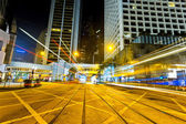 Ight trails on the street in Hong kong — Stock Photo