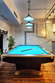 Contemporary interior, living room with a snooker table  — Stock Photo