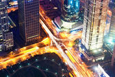 Aerial city night view of shanghai — Foto Stock
