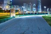 近代的な都市背景と夜の経路 — ストック写真