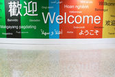 Various languages of welcome in a wall — Stock Photo