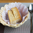 Closeup of a plate with some bread rusks — Stock Photo #48666683