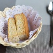 Closeup of a plate with some bread rusks — Stock Photo #48666689