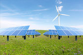 Wind turbines and solar panels. Green energy — Stock Photo