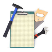 Work tools and clipboard — Zdjęcie stockowe