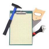 工作工具和剪贴板 — 图库照片