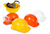 Group of hard hats — Stok fotoğraf