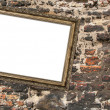 Picture frame crookedly hung — Stock Photo