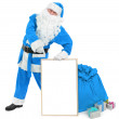 Funny blue Santwith empty white board — Stock Photo #35506195