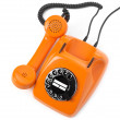 Orange rotary phone — Stock Photo