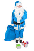 Funny blue Santa asks to be quiet — Stock Photo