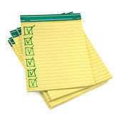 Lined paper notebooks with completed checklist — Stock Photo
