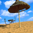 Relaxing area on sand desert — Stock Photo