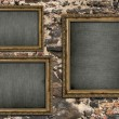 Triptych with empty canvas — Stock Photo