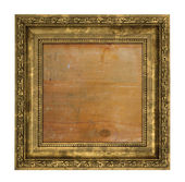 Ruined golden frame with wooden interior — Foto Stock