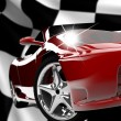 red car on a checkered flag — Stock Photo