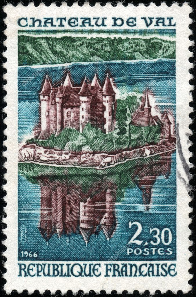 CIRCA 1966: A stamp showing Chateau de Val, circa 1966 — Stock Photo #12465391