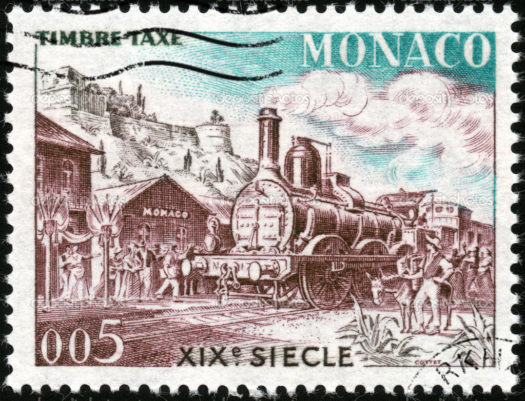CIRCA 1960: A stamp printed in Monaco showing A train of the XIXe century, circa 1960 — Stock Photo #12517081