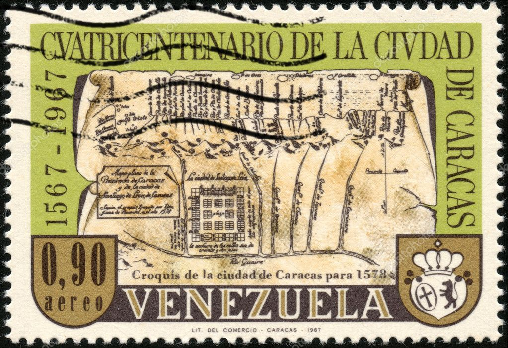 CIRCA 1967: A stamp printed in Venezuela showing the caracas' map of 1578 for the four hundred year old of caracas city, circa 1967 — Stock Photo #12517161