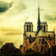 Grunge Notre Dame of Paris — Stock Photo