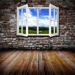 Stock Photo: Open window in a room