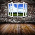 Open window in a room — Stock Photo
