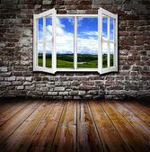 Open window in a room — Stockfoto