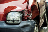 Red accident car — Stockfoto