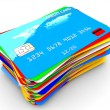Pile of credit cards - Stock Photo