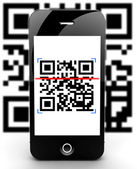 Smartphone skanna koden ur fokus — Stockfoto