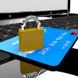 Credit card and lock on laptop — Stock Photo