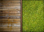 Grass and wood — Stock Photo