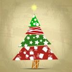 Vintage tree christmas — Stock Vector