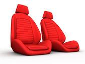 Iki kırmızı araba koltuğu — Stok fotoğraf