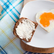 Royalty-Free Stock Photo: Heart shaped egg on breakfast