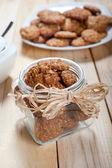 Pot full of healthy muesli cookies — Stock Photo