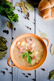 Thick bean soup with traditional sausage — Stock Photo