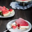 Diet seasonal cake with watermelon jelly and mascarpone cheese — Stock Photo