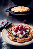Sweet and delicious waffles with fruits — Stock Photo
