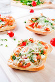 Fresh vegetarian Italian toast bruschetta — Stock Photo