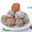 Colorful chocolate truffles — Stockfoto